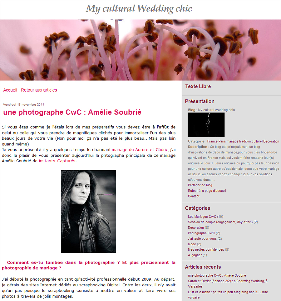 CWC21 Interview Instants Capturés, Photographe Mariage Paris sur My Cultural Wedding chic
